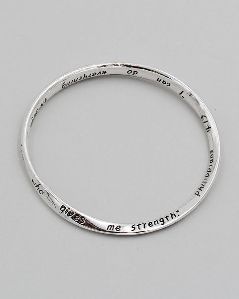 Philippians 4:13 Inspirational Bangle Bracelet