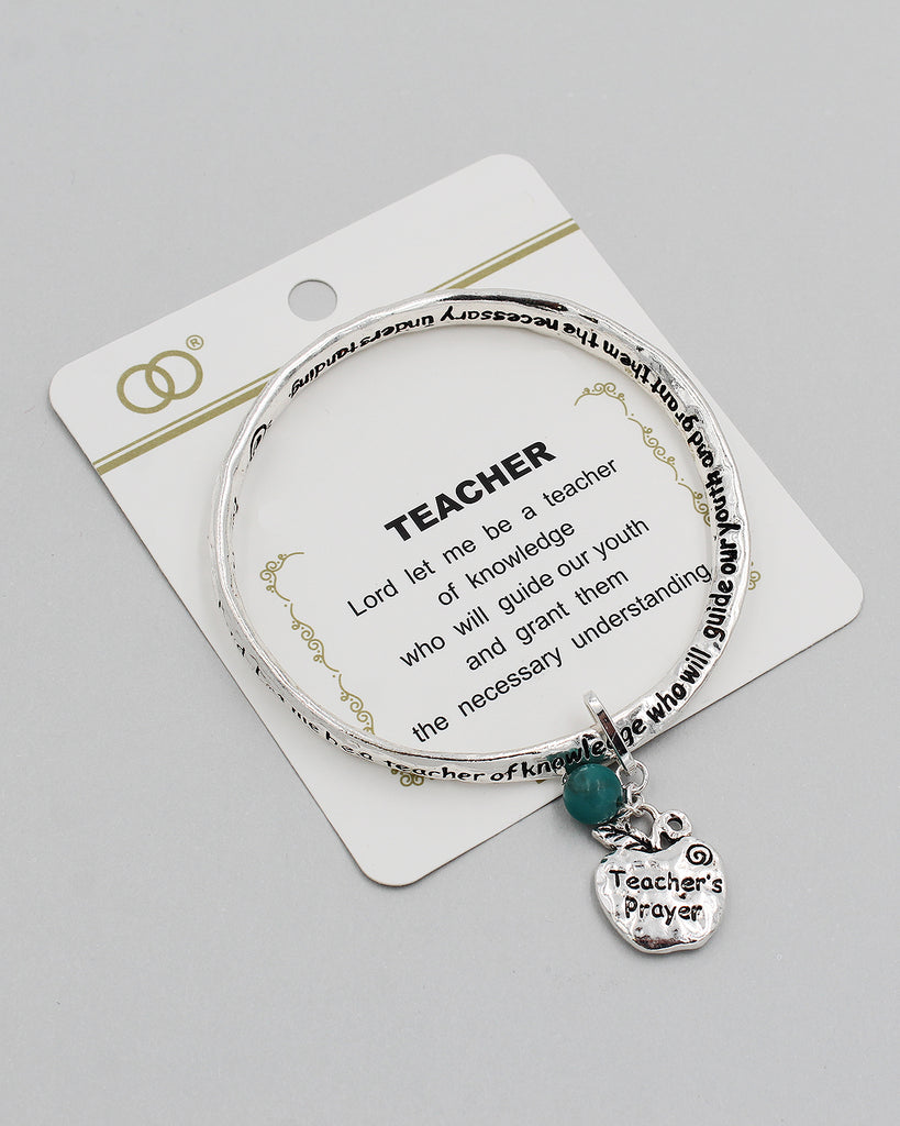 TEACHER'S PRAYER Inspirational Bangle Bracelet with Charm