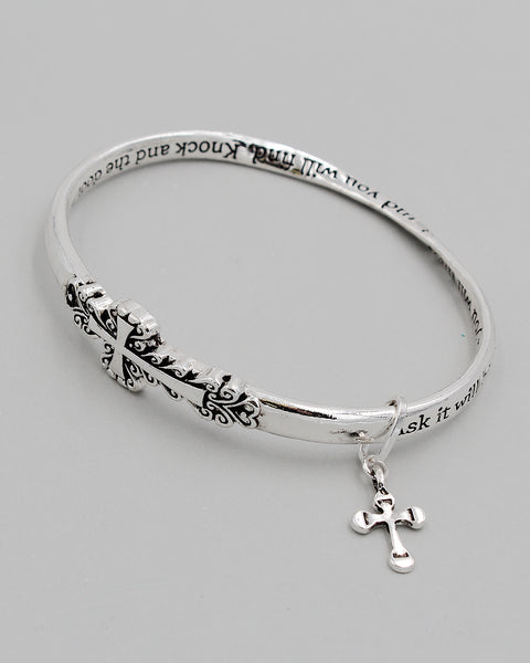 Cross Charm Inspirational Bangle Bracelet