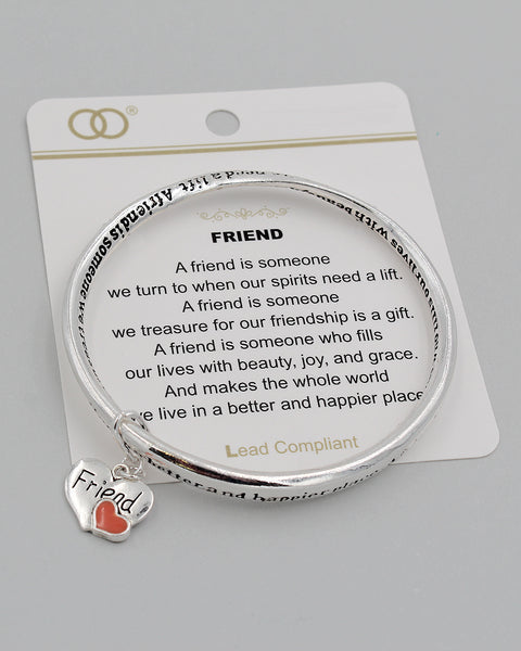 FRIEND Inspirational Bangle Bracelet with Charm