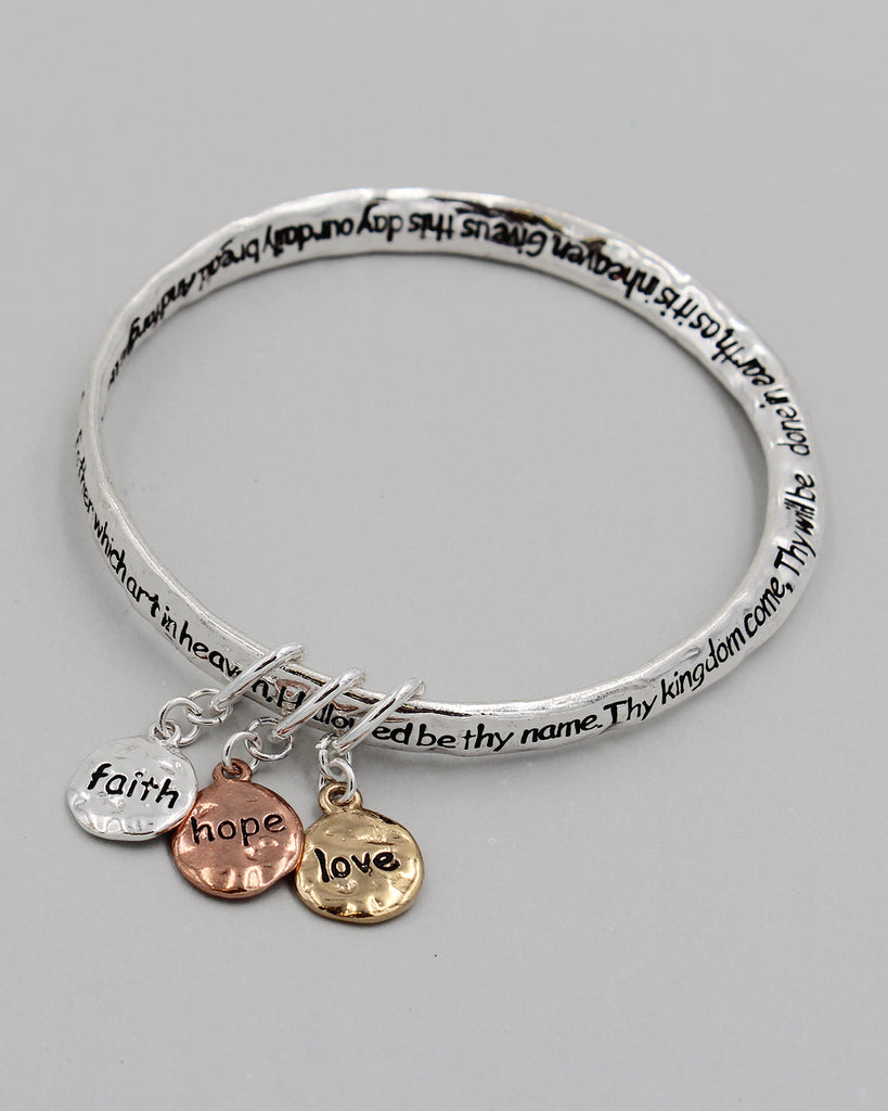 Lord's Prayer Bangle Bracelet with Triple Charms