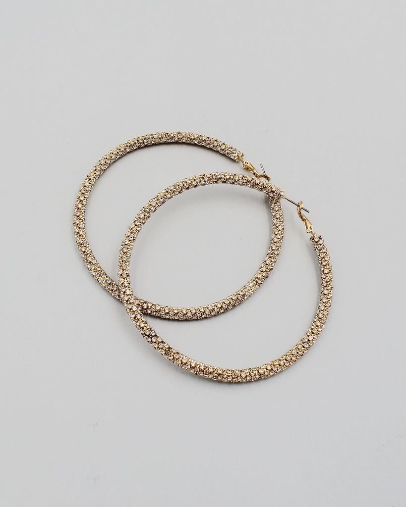 80mm Pave Stone Hoop Earrings