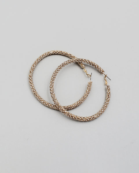 70mm Pave Stone Hoop Earrings