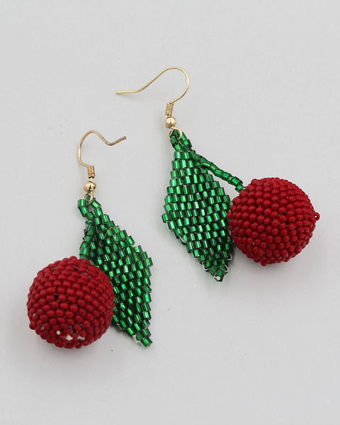 Cherry Beaded Dangle Earrings