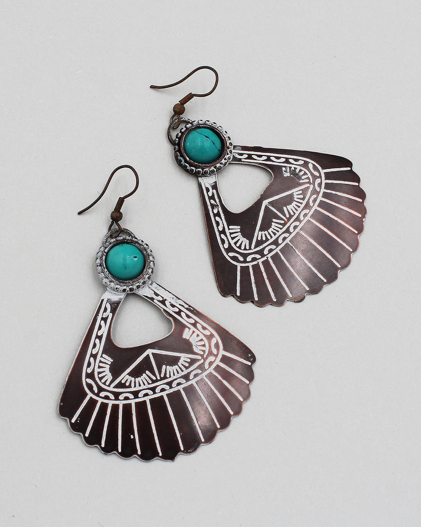 Antique Metal Fan Dangle Earrings