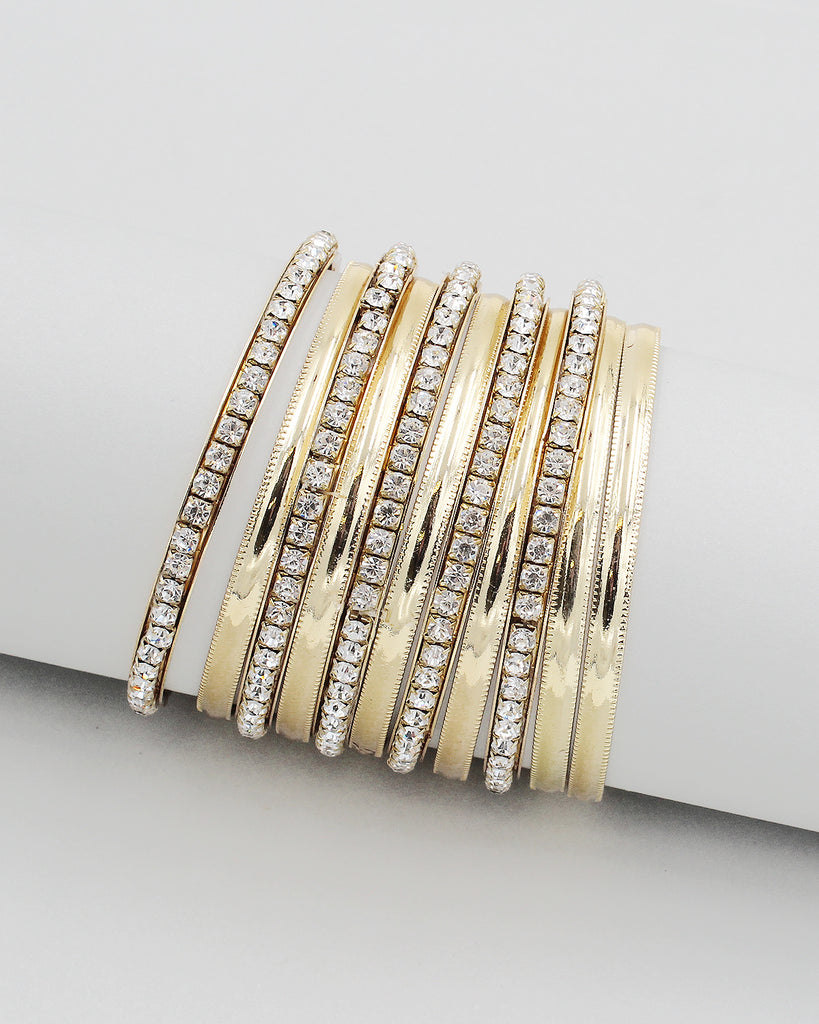 Metal & Stone 10PC Multiple Layering Bangle Set