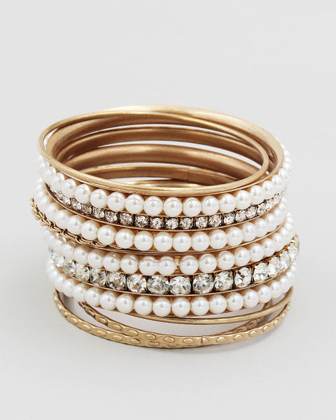 Stone & Pearl 10PC Multiple Layering Bangle Set