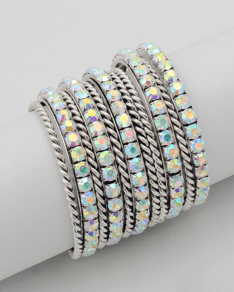 Large Stone 10PC Multiple Layering Bangle Set
