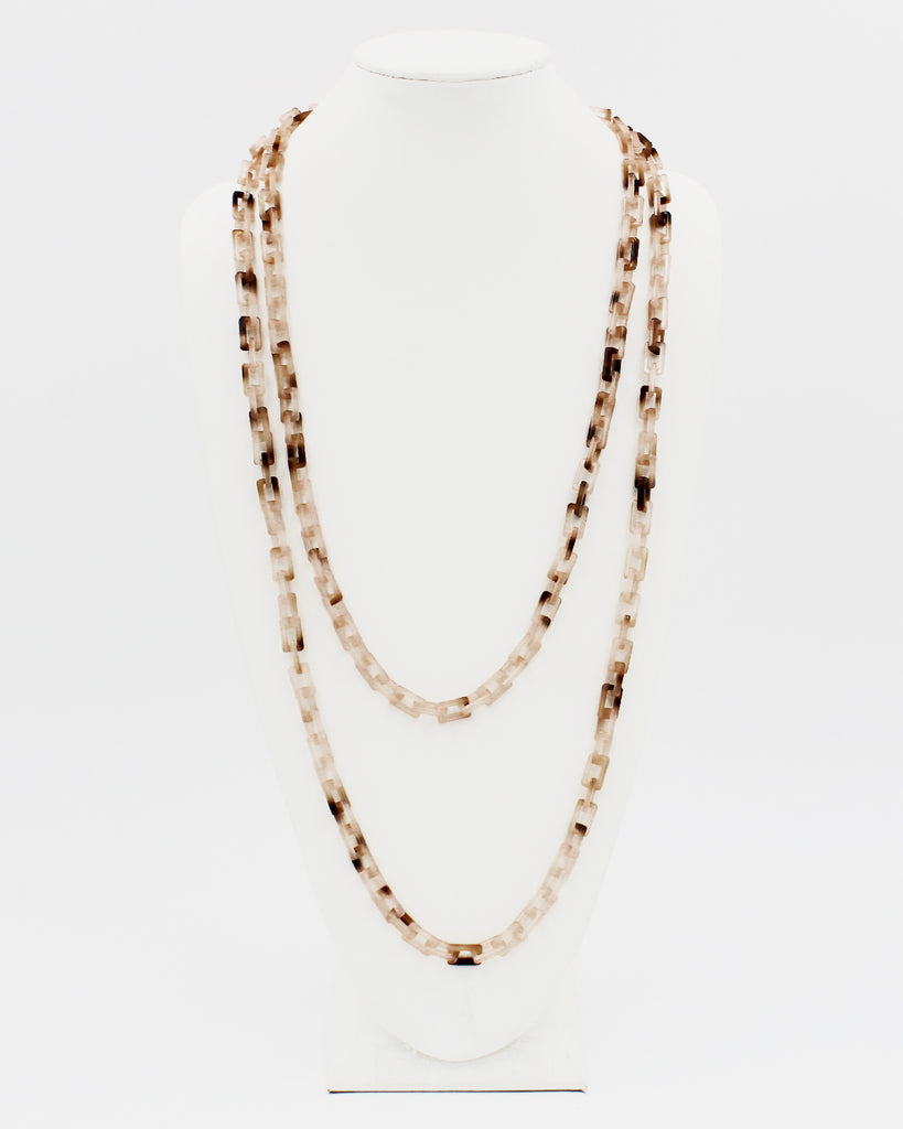 "70"" Resin Square Shell Long Strand Necklace"