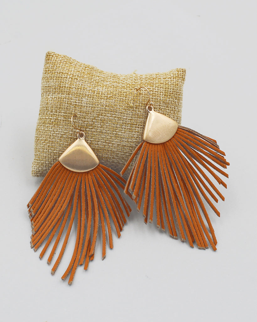 Faux Suede Fringe Dangle Earrings
