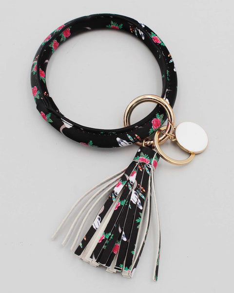 Flower Print Bracelet Key Ring