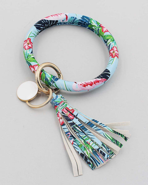 Flamingo Print Bracelet Key Ring