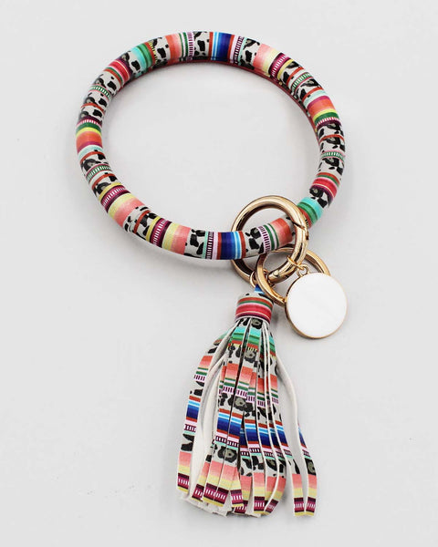 Multicolor Stripe with Leopard Print Bracelet Key Ring