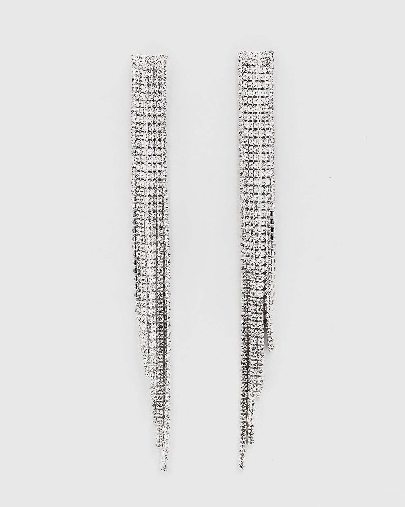 Rhinestone Fringe Drop Earrings