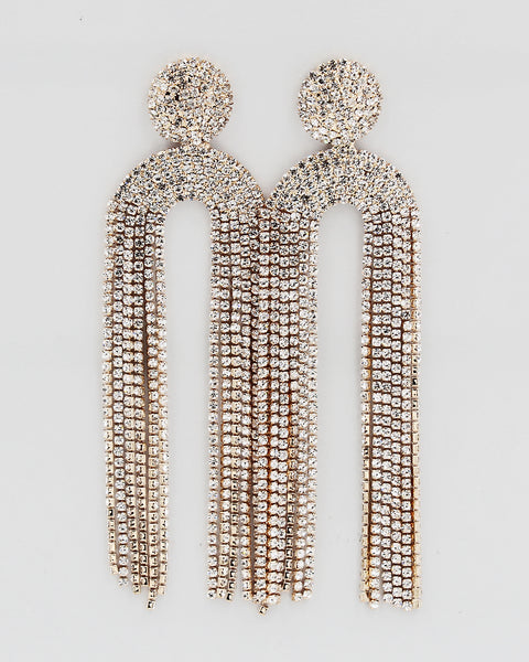 Dome Shaped Rhinestone Fringe Drop Earrings