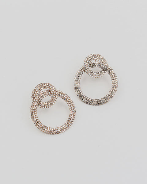 Double Round Link Rhinestone Earrings