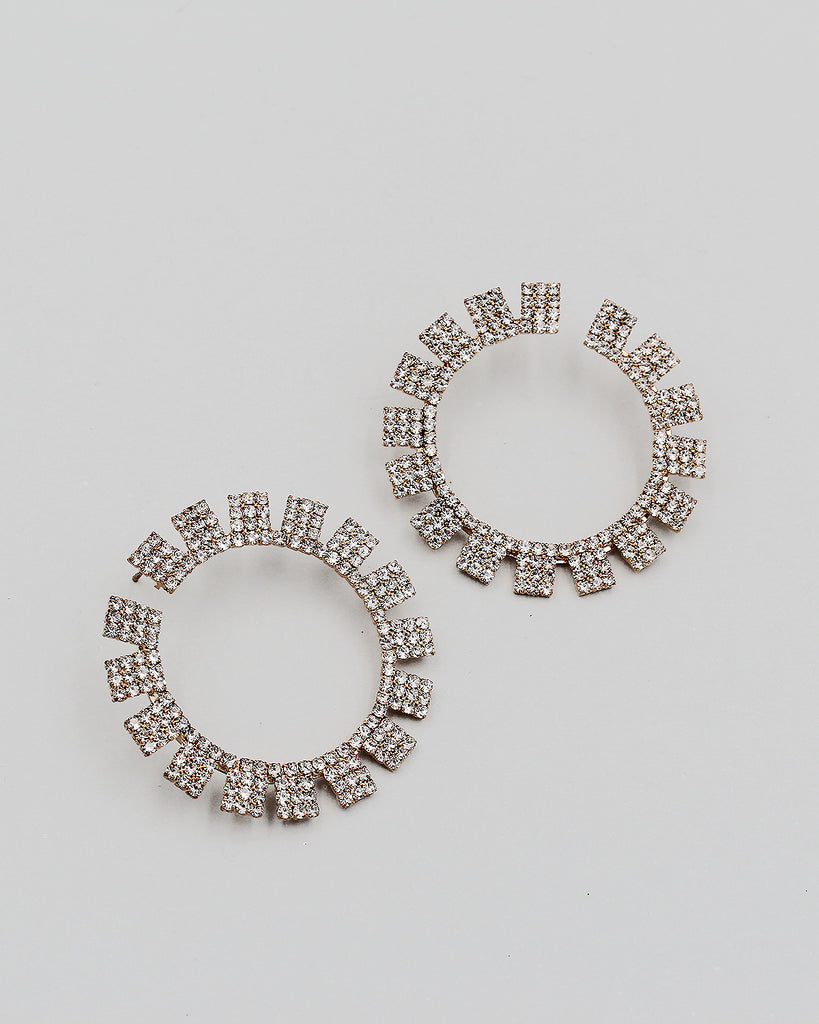Rhinestone Open End Hoop with Square Stations