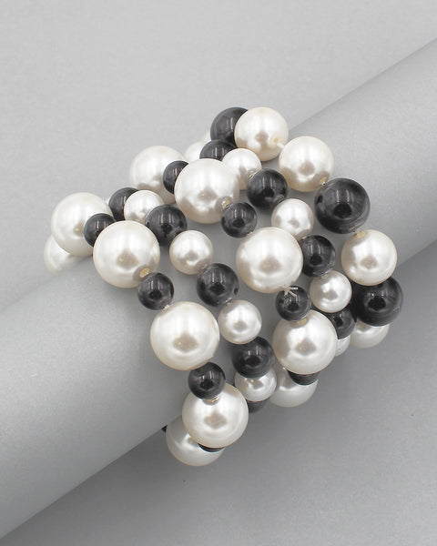 Graduated Pearl 5PC Layering Bracelet Set