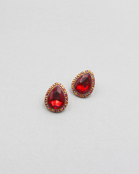 Tear Drop Crystal Stone Sparkling Earrings