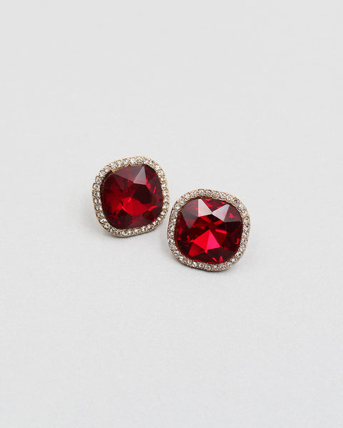 Cushion Cut Crystal Stone Sparkling Earrings