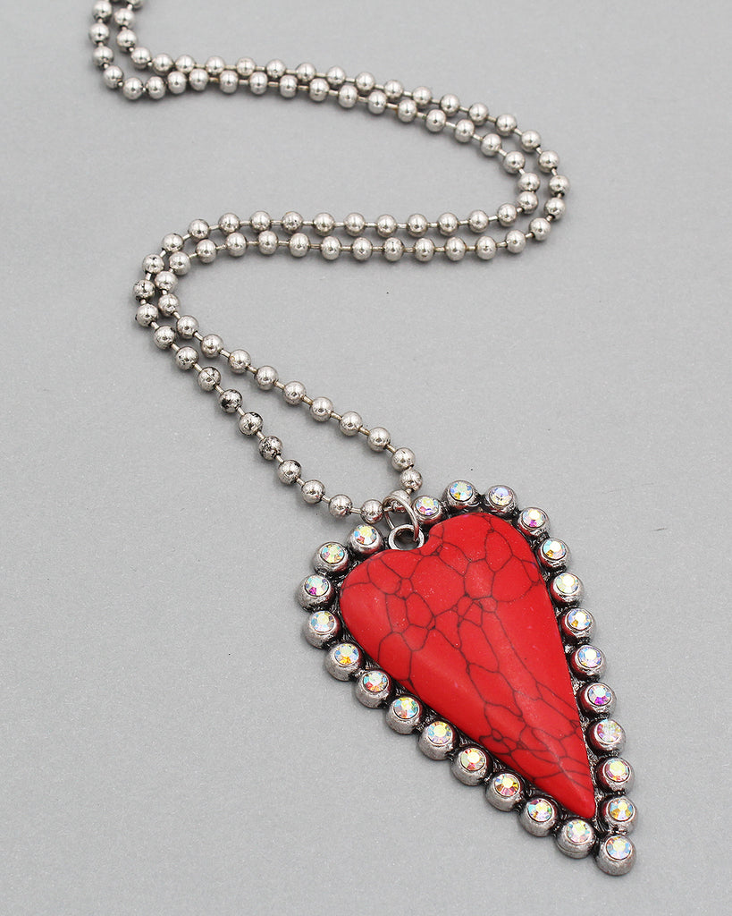 Stone Heart Pendant Long Strand Necklace