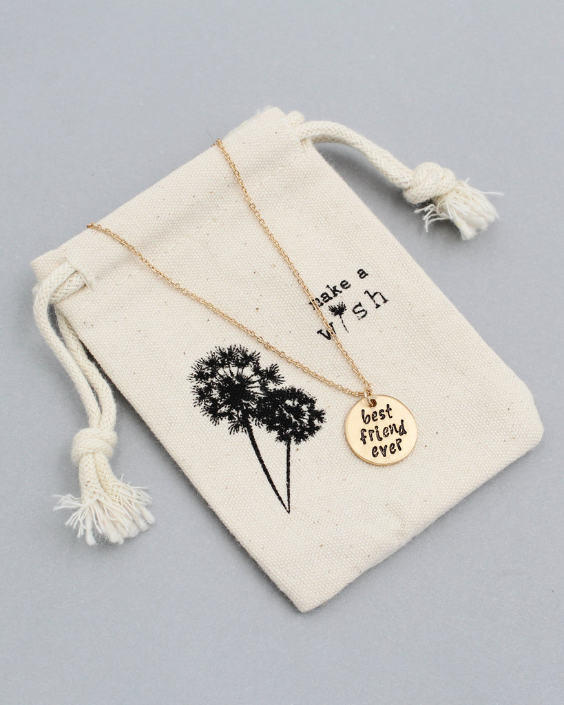BEST FRIEND EVER Pedant Necklace with Pouch
