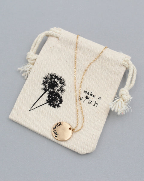 BLESSED Pedant Necklace with Pouch