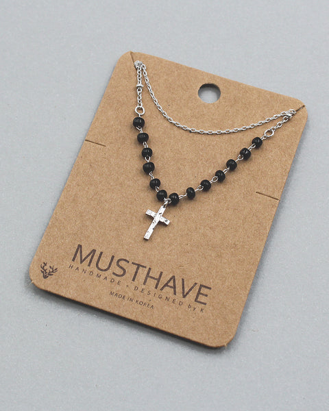 Cross Pendant Double Chain Necklace