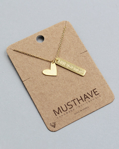 'LOVE YOU MORE' Hear & Tag Necklace