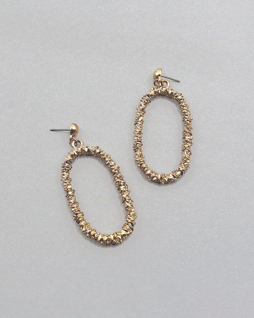 Textured Rounded Square Drop Earrings