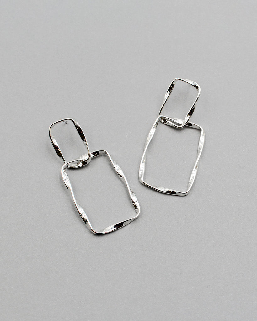 Hammered Textured Square Link Earrings