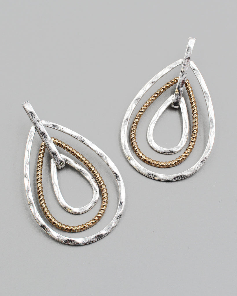 Triple Tier Tear Drop Earrings