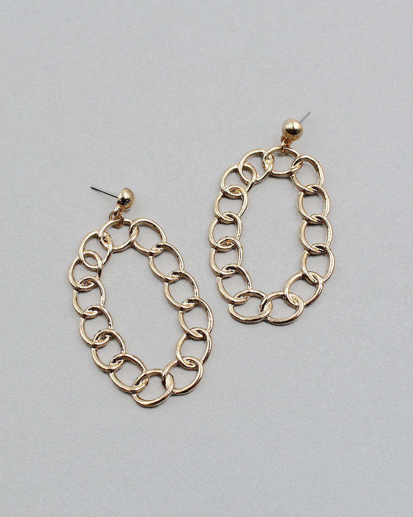 Linked Metal Chain Drop Earrings