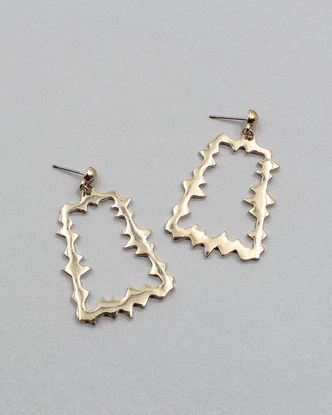 Jagged Edge Trapezoid Shape Metal Earring