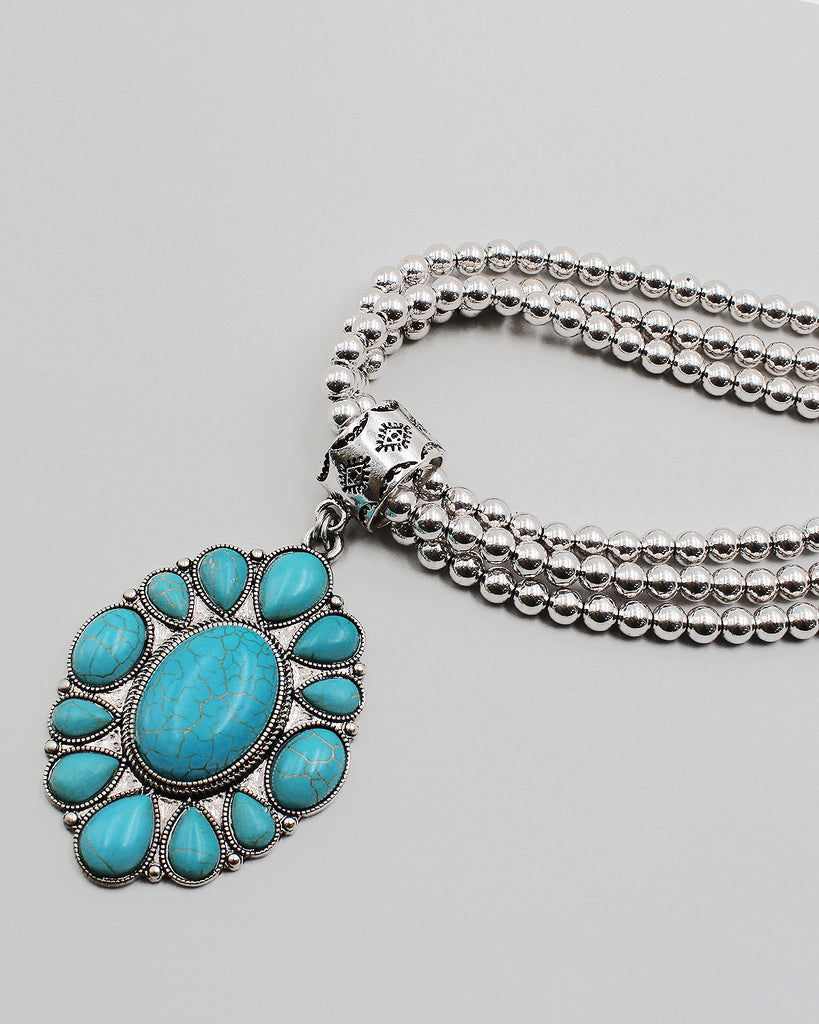 Turquoise Stone Pendant Metal Ball Chain Necklace