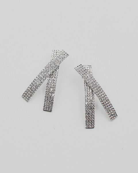 Cross Shape Rhinestone Earrings