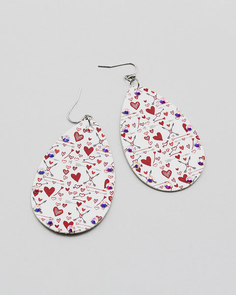 Heart Print Tear Drop Earrings