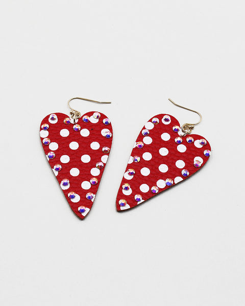 Polka Dot Print Heart Drop Earrings