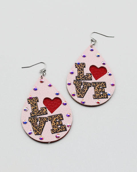 Love Print Heart Drop Earrings