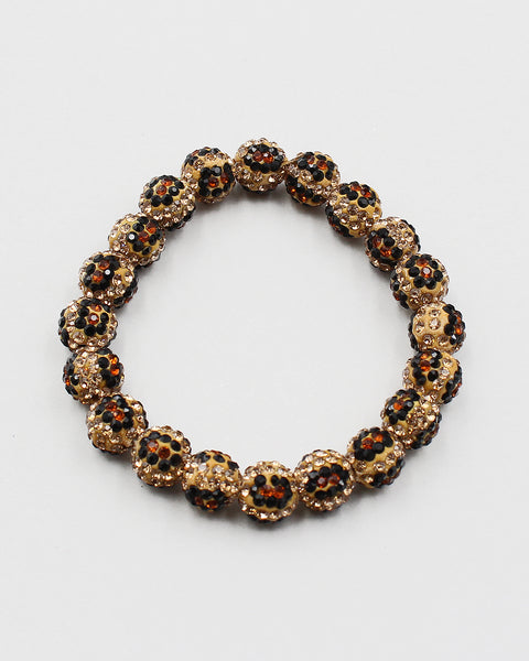 Leopard Pattern Crystal Ball Disco Ball Bracelet