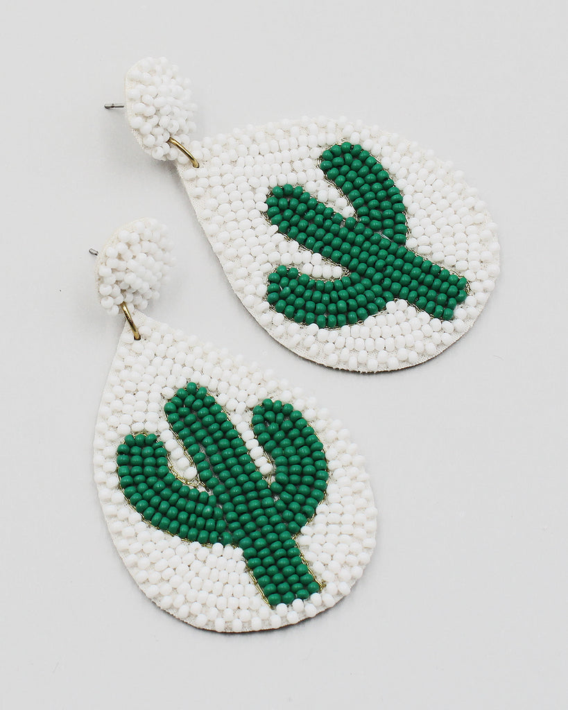 Cactus Beaded Dangle Earrings