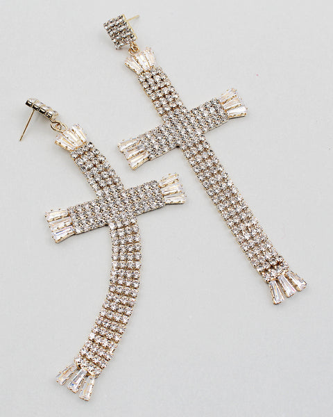 Cross Dangle Rhinestone Earrings