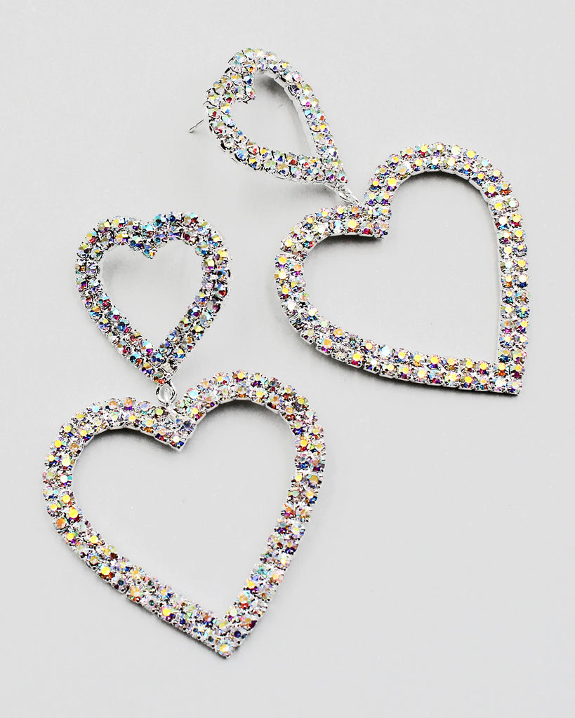 Double Heart Rhinestone Earrings