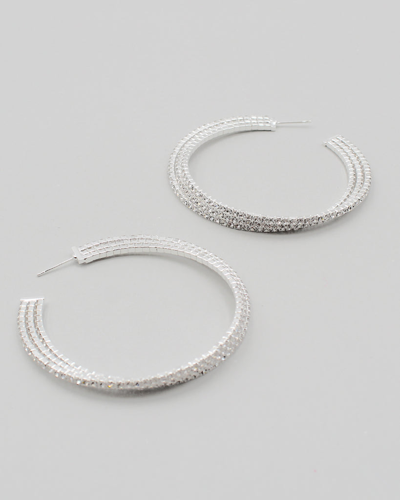 Triple Stacked Rhinestone Hoop Earrings