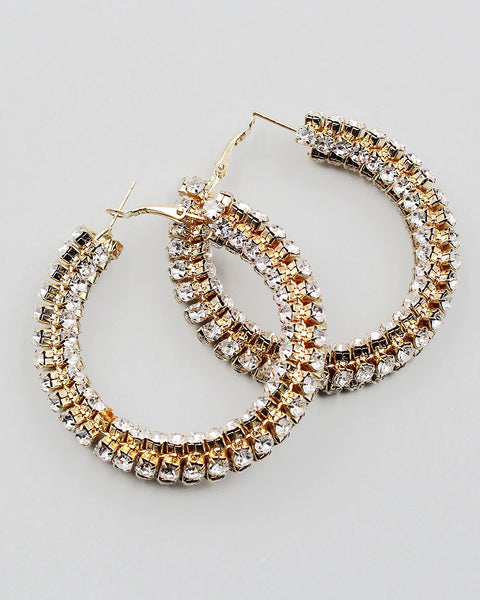 "2.25"" Rhinestone Encrusted Hoop Earrings"