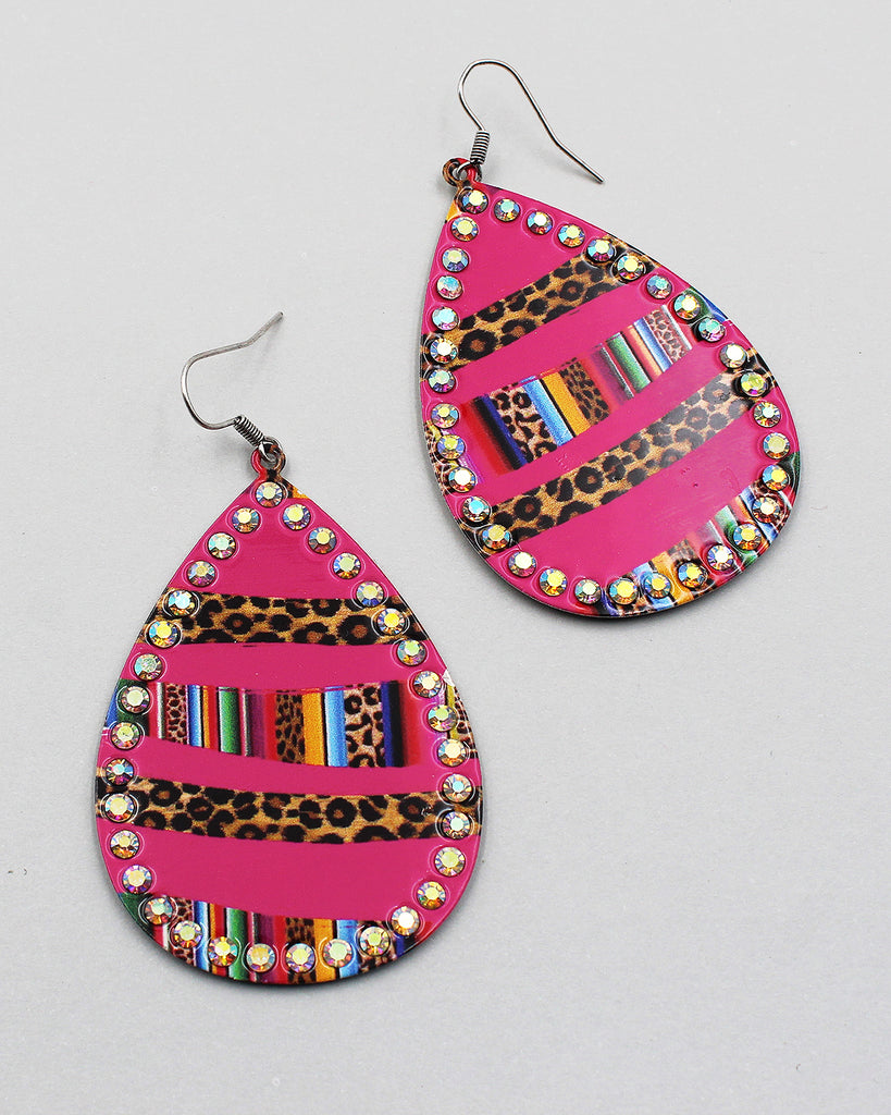 Leopard & Serape Print Metal Earrings