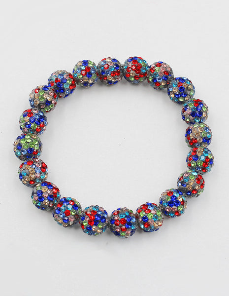 Multicolored Crystal Ball Disco Ball Bracelet