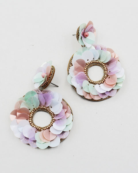 Faux Pearl Clustered Hoop Earrings