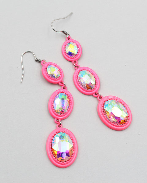 Colored Metal Triple Tier Crystal Stone Drop Earrings