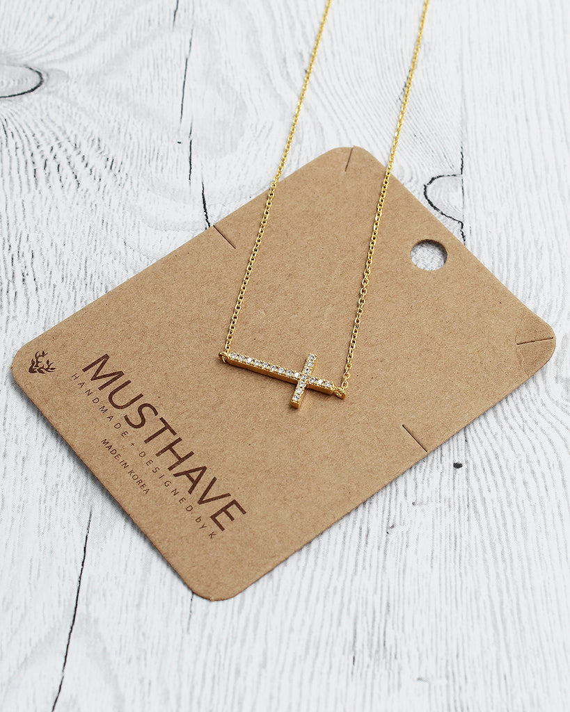 Rhinestone Side Cross Dainty Pendant Card Necklace